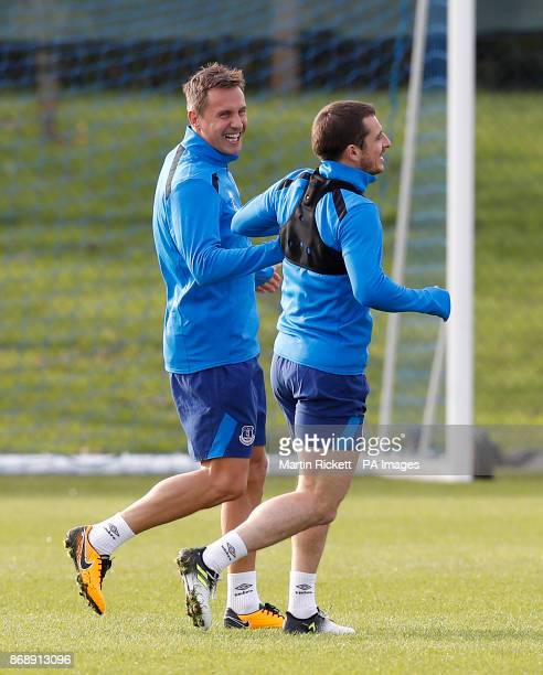 Everton's Phil Jagielka with Leighton Baines during the training session at Finch Farm Liverpool