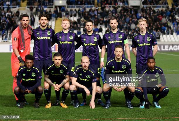 Everton's players pose prior to the UEFA Europa League group stage football match between Apollon Limassol and Everton at the GSP stadium in the...