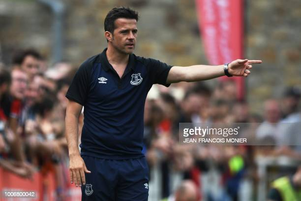 Everton's Portuguese head coach Marco Silva gestures during a friendly football match between Rennes and Everton on July 28 in Vitre western France