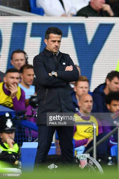 Everton's Portuguese manager Marco Silva looks on during the English Premier League football match between Everton and West Ham United at Goodison...