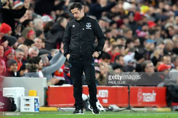 Everton's Portuguese manager Marco Silva reacts during the English Premier League football match between Liverpool and Everton at Anfield in...