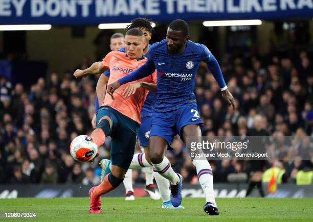 Everton's Richarlison battles for possession with Chelsea's Antonio Rudiger during the Premier League match between Chelsea FC and Everton FC at...