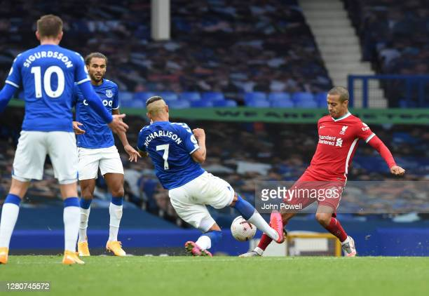 Everton's Richarlison make a awful tackle on Thiago Alcantara of Liverpool and gets sent off during the Premier League match between Everton and...