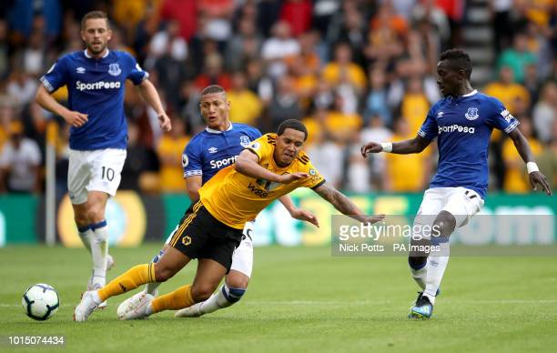 Everton's Richarlison tackles Wolverhampton Wanderers' Helder Costa during the Premier League match at Molineux Wolverhampton