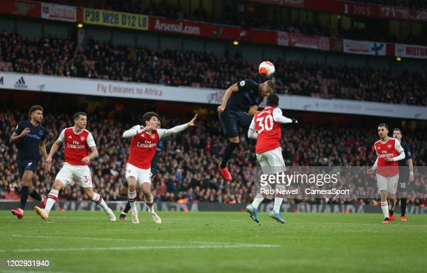 Everton's Richarlison with a first half header towards goal during the Premier League match between Arsenal FC and Everton FC at Emirates Stadium on...
