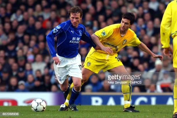 Everton's Scot Gemmill gets away from Leeds United's Paul Okon