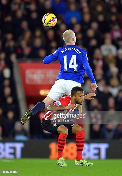 Everton's Scottish striker Steven Naismith vies with Southampton's English defender Ryan Bertrand during the English Premier League football match...