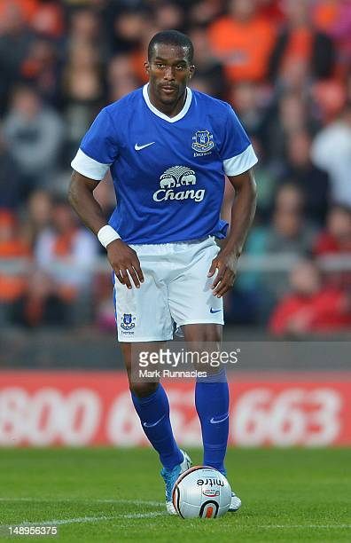 Everton's Sylvain Distin during the pre-season friendly match between Dundee and Everton, at Dens Park on July 19, 2012 in Dundee, Scotland.