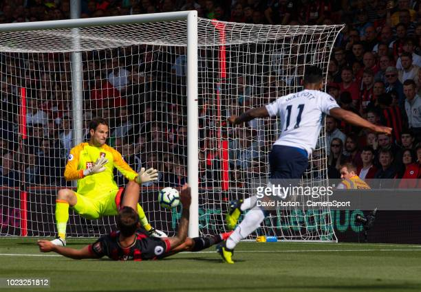 Everton's Theo Walcott scores the opening goal during the Premier League match between AFC Bournemouth and Everton FC at Vitality Stadium on August...