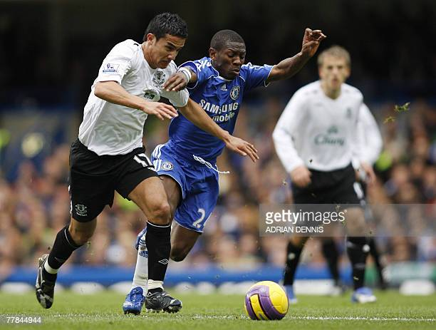 Everton's Tim Cahill competes for the ball against Chelsea's Shaun WrightPhillips during their Premiership football match at Stamford Bridge in...