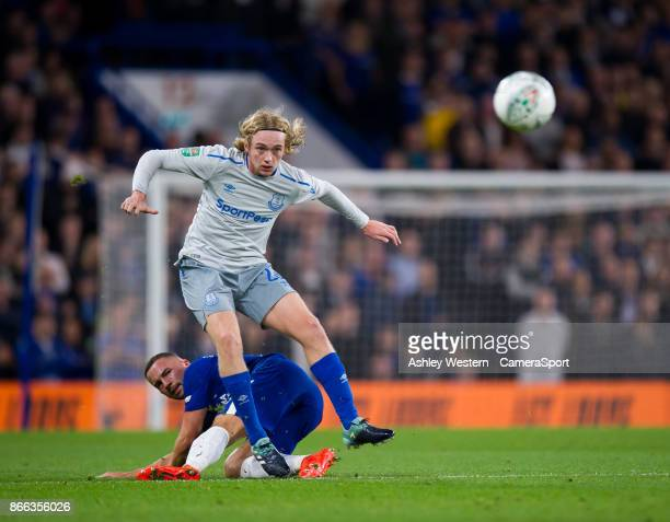 Everton's Tom Davies battles for possession with Chelsea's Daniel Drinkwater during the Carabao Cup Fourth Round match between Chelsea and Everton at...