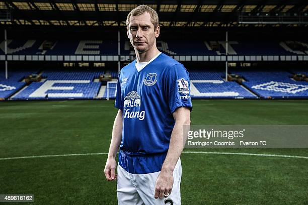 Everton's Tony Hibbert during the Everton photocall at Goodison Park on September 14, 2015 in Liverpool, England.