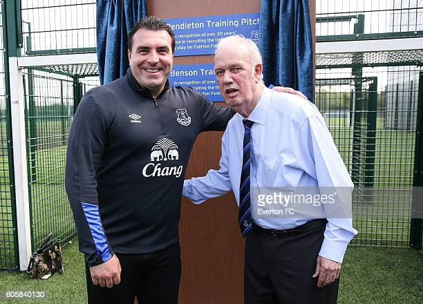 Everton's U23 manager David Unsworth and Bob Pendleton during the plaque unveiling at Finch Farm on September 15 2016 in Halewood England
