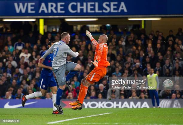 Everton's Wayne Rooney denied by Chelsea's Wilfredo Caballero during the Carabao Cup Fourth Round match between Chelsea and Everton at Stamford...