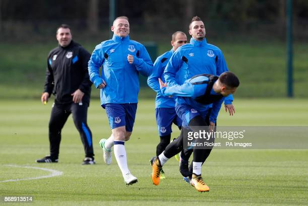 Everton's Wayne Rooney Morgan Schneiderlin and Muhamed Besic during the training session at Finch Farm Liverpool