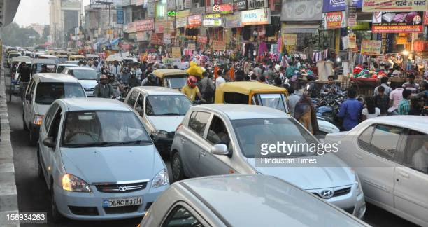 Every corner of the city witnessed massive traffic jam ahead of the Diwali Festival, on November 11, 2012 in Noida, India.
