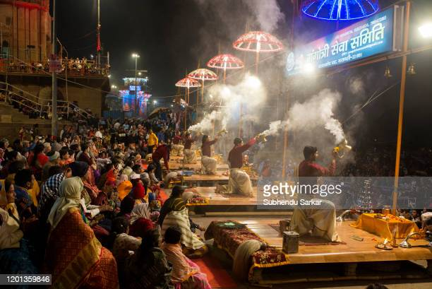 Every evening a ritual of worship to the river Ganges takes place on the Ghats.