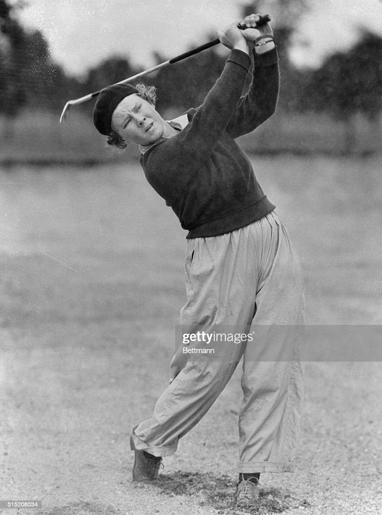 Every hole was a winning hole for Patty Berg, shown above, playing in the Women's National Golf Championship at the Westmoreland Country Club today. Forty-two shots were all it took the Minneapolis marvel wearing trousers to defeat Mrs. Myron Davy of Washington, DC.