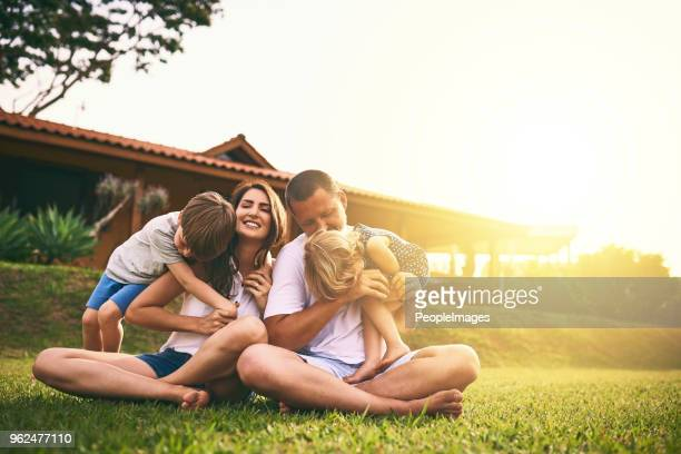 every moment spent together is absolute bliss - happy family stock photos and pictures