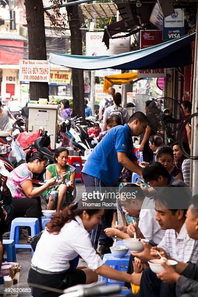 Every morning the streets are filled with people gathered for breakfast on the sidewalks served from small restaurants on the street.