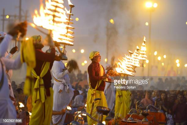 Every night, priests organize an aarti devotional prayer for the Ganges, during the Kumbh Mela in Allahabad. The Kumbh Mela is a mass Hindu...