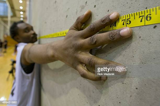 MISSISSAUGA ON SEPTEMBER 19 2015 Every player had his arm span measured as part of the physical statistics Raptors 905 is an open tryout for the...