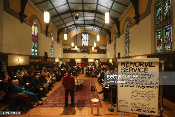 TORONTO ON FEBRUARY 12 Every second Tuesday of the month the Toronto Homeless Memorial at the Church of the Holy Trinity adds new names to the...