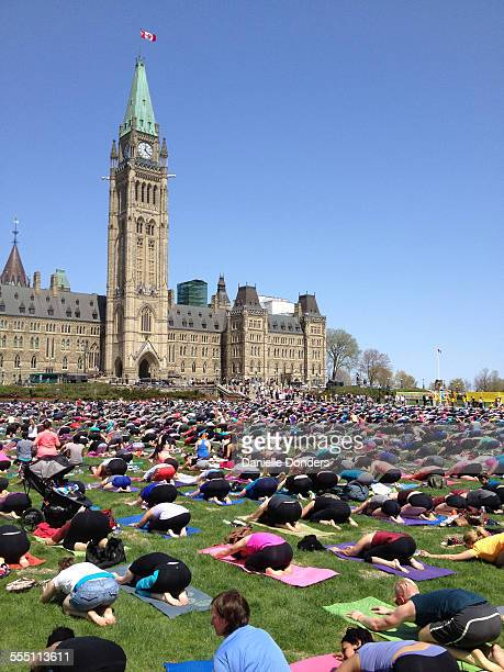 Every Wednesday in summer hundreds gather on the lawn of the federal government's Parliament Buildings in Ottawa Canada for an outdoor group yoga...