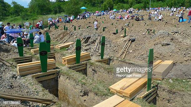 Every year hundreds of Bosniak Muslims are still buried at Potocari in Srebrenica. They were amongst the 8000 killed in July 1995 when Bosnian Serb...