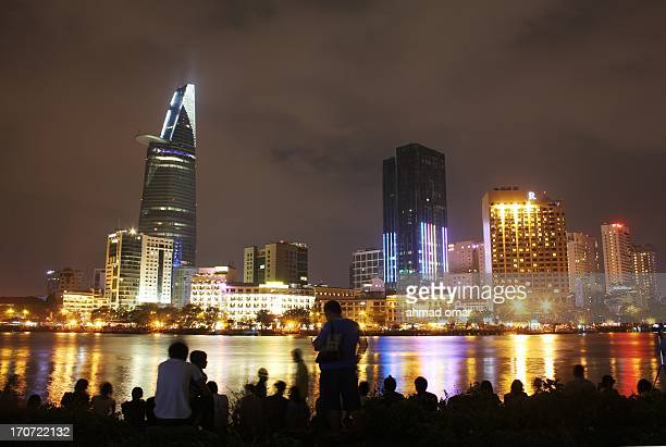 Everybody exciting and wait for the fireworks in celebration of lunar new year