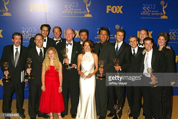 Everybody Loves Raymond cast members Madylin Sweeten Peter Boyle Patricia Heaton Ray Romano with producers writers won for Best Comedy Series