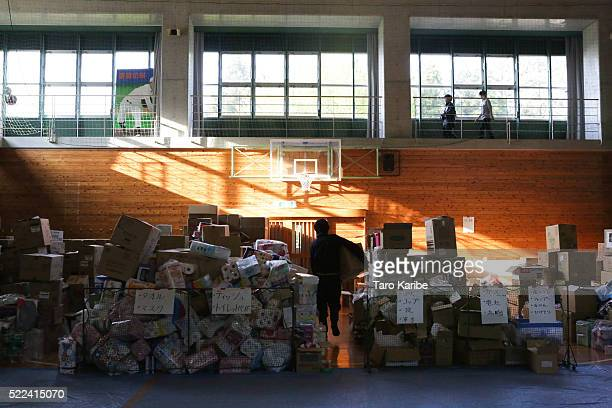 Everyday goods are sent to a safe shelter from all over the country on April 19, 2016 in Minamiaso near Kumamoto, Japan. As of April, 45 people were...