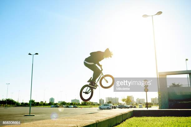 Everyday he soars higher with his bike