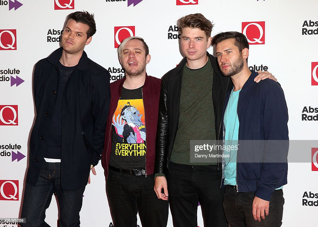 Everything Everything's (L-R) Jeremy Pritchard, Jonathan Higgs, Alex Robertshaw and Michael Spearman attend the Q Awards at The Grosvenor House Hotel on October 19, 2015 in London, England.