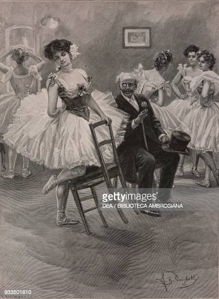 after denying the old gent a kiss the promise of a jewel helps change the dancer's mind illustration from Fliegende Blaetter humour and satire...