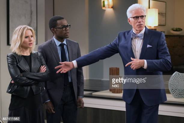 PLACE Everything is Great Episode 201 Pictured Kristen Bell as Eleanor William Jackson Harper as Chidi Ted Danson as Michael