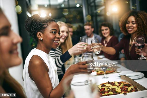 everything's better when you do it with friends - evening meal stock pictures, royalty-free photos & images