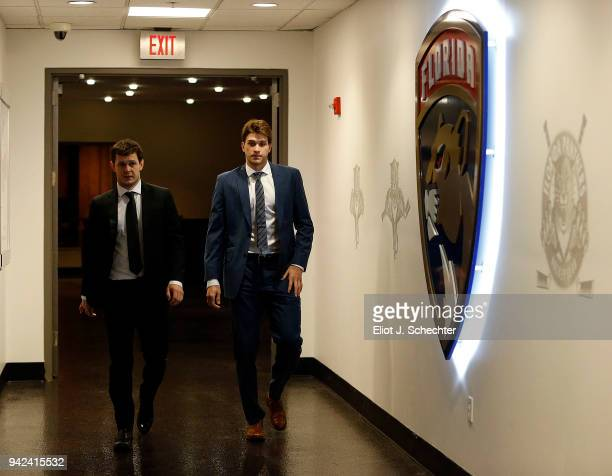 Evgeni Dadonov and Maxim Mamin of the Florida Panthers arrive for tonights game against the Boston Bruins at the BBT Center on April 5 2018 in...