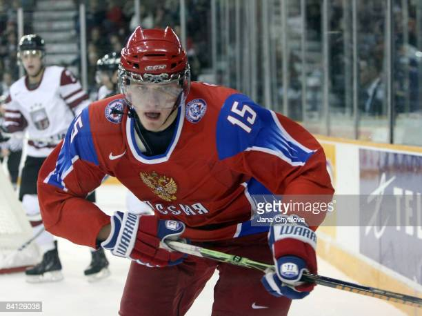 Evgeni Grachev of Russia skates in a game against Latvia at the Civic Centre on December 26, 2008 in Ottawa, Ontario, Canada.