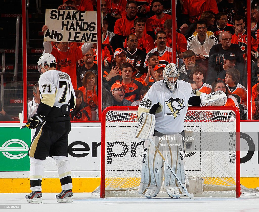 Evgeni Malkin #71 and goalie Marc-Andre Fleury of the Pittsburgh Penguins look down after a goal by Scott Hartnell of the Philadelphia Flyers in the first period of Game Six of the Eastern Conference Quarterfinals during the 2012 NHL Stanley Cup Playoffs at Wells Fargo Center on April 22, 2012 in Philadelphia, Pennsylvania. The Flyers won the game 5-1 to eliminate the Penguins from the playoffs.