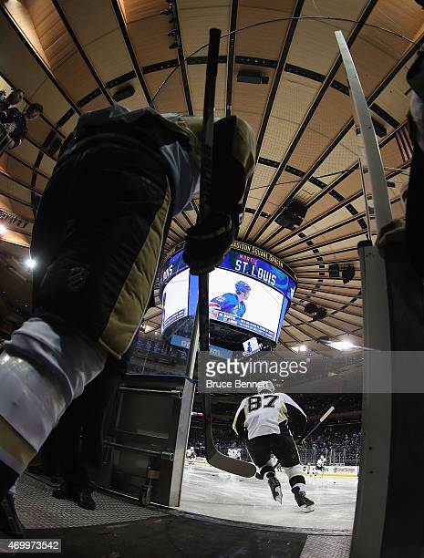 Evgeni Malkin and Sidney Crosby of the Pittsburgh Penguins heads out for warmups prior to the game against the New York Rangers in Game One of the...