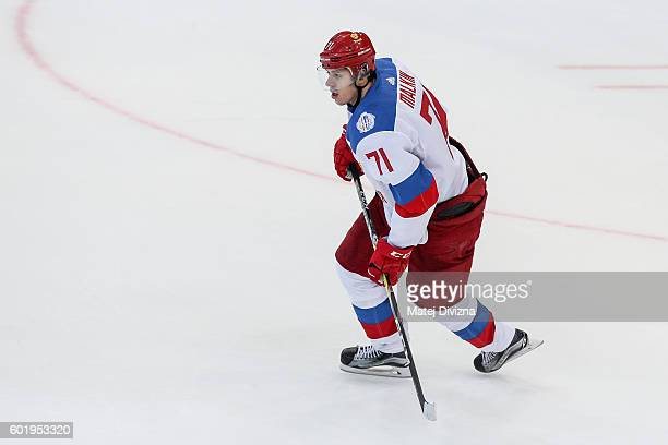 Evgeni Malkin of Russia in action during the 2016 World Cup of Hockey preparation match between Czech Republic and Russia at O2 Arena Prague on...