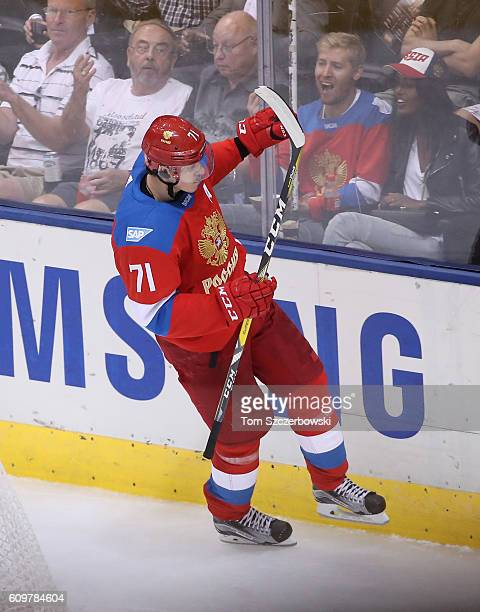 Evgeni Malkin of Team Russia celebrates his third period goal against Team Finland during the World Cup of Hockey tournament at the Air Canada Centre...