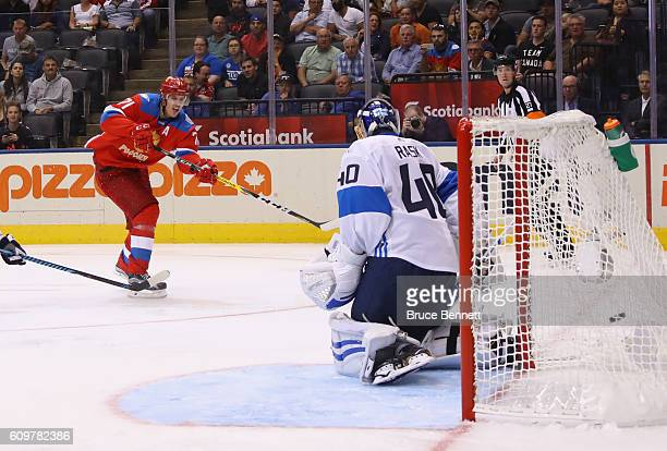 Evgeni Malkin of Team Russia scores a third period goal against Tuukka Rask of Team Finland during the World Cup of Hockey tournament at the Air...