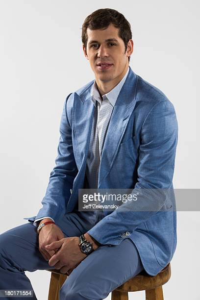 Evgeni Malkin of the Pittsburgh Penguin is photographed during the NHL Media Tour at the Prudential Center on September 5 2013 in Newark New Jersey
