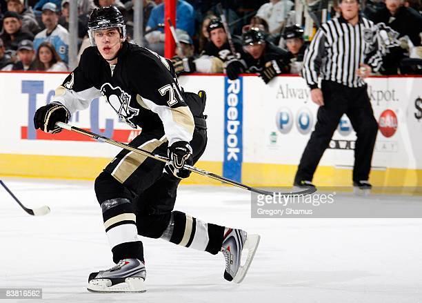 Evgeni Malkin of the Pittsburgh Penguin skates against the Vancouver Canucks on November 22 2008 at Mellon Arena in Pittsburgh Pennsylvania