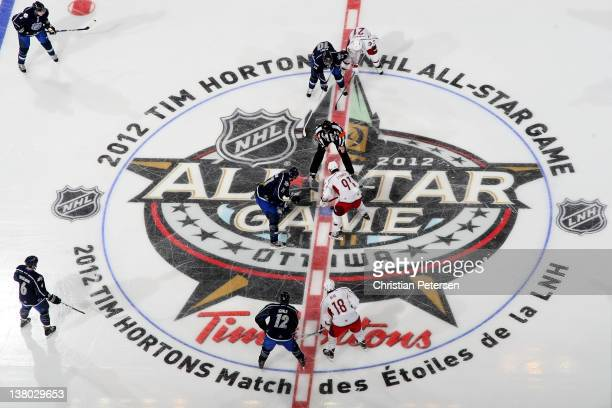 Evgeni Malkin of the Pittsburgh Penguins and Team Chara faces off against Steven Stamkos of the Tampa Bay Lightning and Team Alfredsson during the...