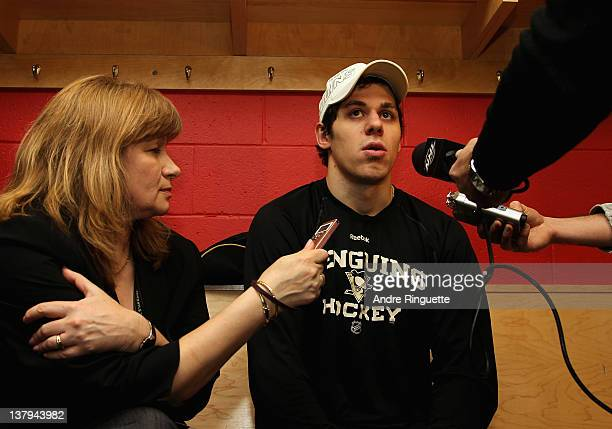 Evgeni Malkin of the Pittsburgh Penguins and team Chara is interviewed after his team won the game 129 in the 2012 Tim Hortons NHL AllStar Game at...
