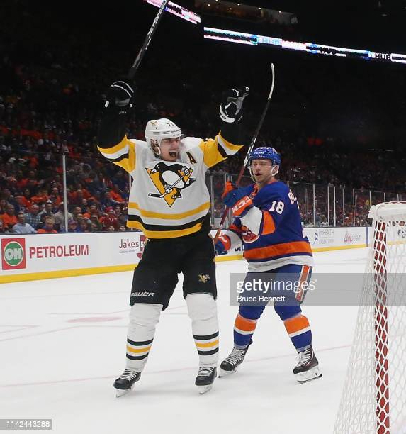 Evgeni Malkin of the Pittsburgh Penguins celebrates a goal by Erik Gudbranson against the Pittsburgh Penguins in Game Two of the Eastern Conference...