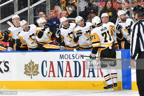 Evgeni Malkin of the Pittsburgh Penguins celebrates after a goal during the game against the Edmonton Oilers on October 23 2018 at Rogers Place in...